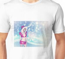 Woman in pink winter cloth Unisex T-Shirt