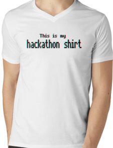 Hackathon shirt (8-bit 3D) Mens V-Neck T-Shirt