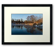 Still and Early - Icy Reflections With a Touch of Snow Framed Print