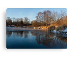Still and Early - Icy Reflections With a Touch of Snow Canvas Print