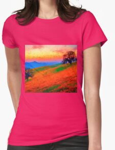 hills landscape trees sunset sunrise Womens Fitted T-Shirt