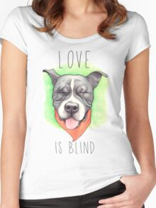 LOVE IS BLIND - Stevie the wonder dog Women's Fitted Scoop T-Shirt
