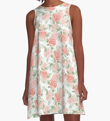 Romantic roses. Watercolor pattern A-Line Dress