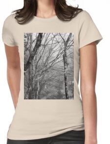 Forest under the fog, tree, t-shirt Womens Fitted T-Shirt