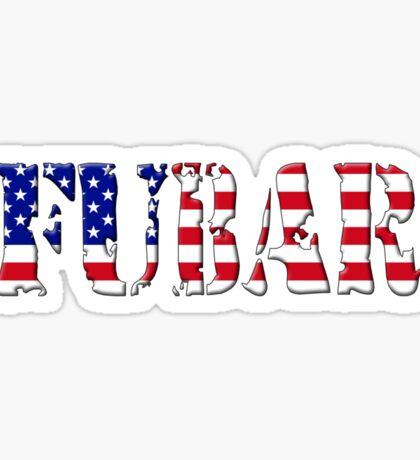 FUBAR - USA flag, black outline. Sticker