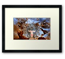 A Female Galactic Warrior at the Dust Pillars in the Carina Nebula Framed Print