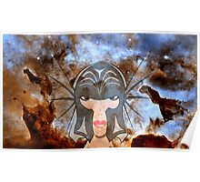 A Female Galactic Warrior at the Dust Pillars in the Carina Nebula Poster