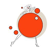 Paper doll with red balls Photographic Print