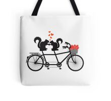 tandem bicycle with squirrels Tote Bag