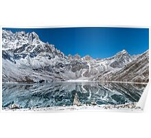 Mountain reflexion in cristal clear lake  Poster