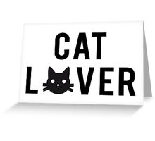 Cat lover, word art, text design with black cat head Greeting Card