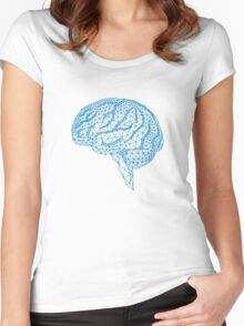 blue human brain with geometric mesh pattern Women's Fitted Scoop T-Shirt