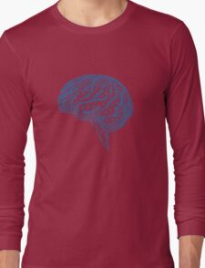 blue human brain with geometric mesh pattern Long Sleeve T-Shirt