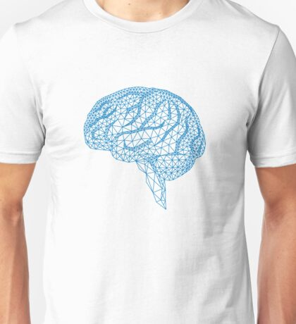 blue human brain with geometric mesh pattern Unisex T-Shirt
