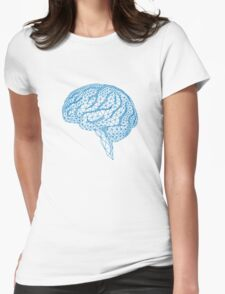 blue human brain with geometric mesh pattern Womens Fitted T-Shirt