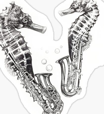 Saxophone sea horse Sticker