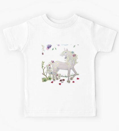 Unicorn with flowers Kids Tee