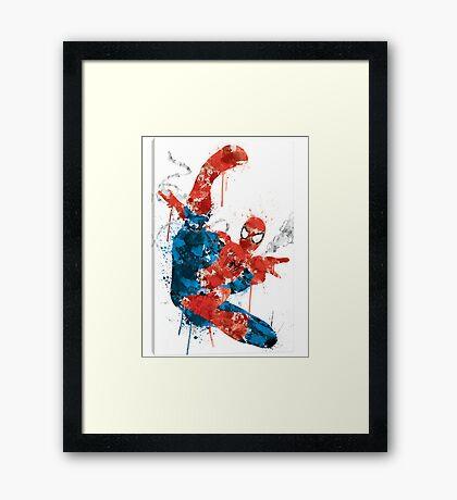 Spiderman Splatter Paint Framed Print