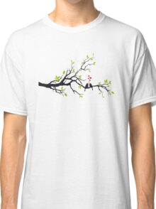 Birds in love with red hearts on spring tree Classic T-Shirt