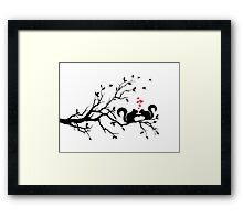squirrels on tree branch with red hearts Framed Print