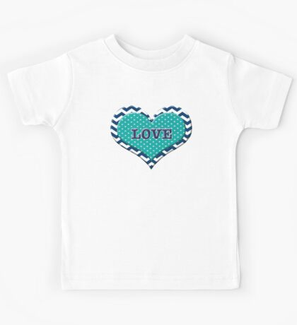 Cute LOVE Heart Chevron Polka Dot Valentine's Day Blue White Teal Girl Woman  Kids Tee