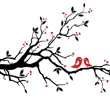 Kissing birds on love tree with red hearts by beakraus