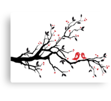 Kissing birds on love tree with red hearts Canvas Print