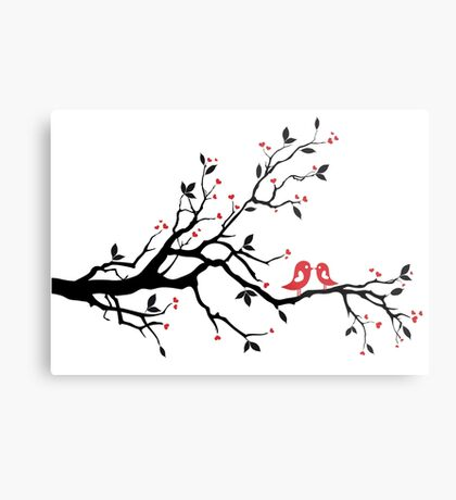 Kissing birds on love tree with red hearts Metal Print
