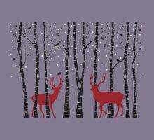 Christmas deers in birch tree forest Kids Clothes