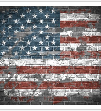 American flag on the wall Sticker