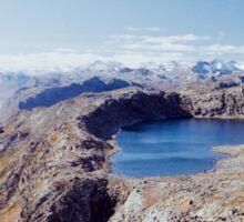 Lake and Peak Landscape in Scandinavian National Park (Norway) Sticker