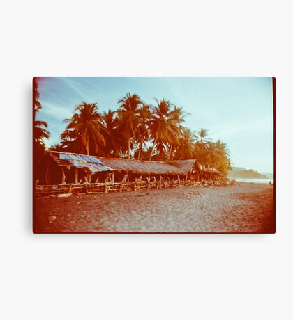 Carribean Beach With Palm Trees Shot on Film Canvas Print