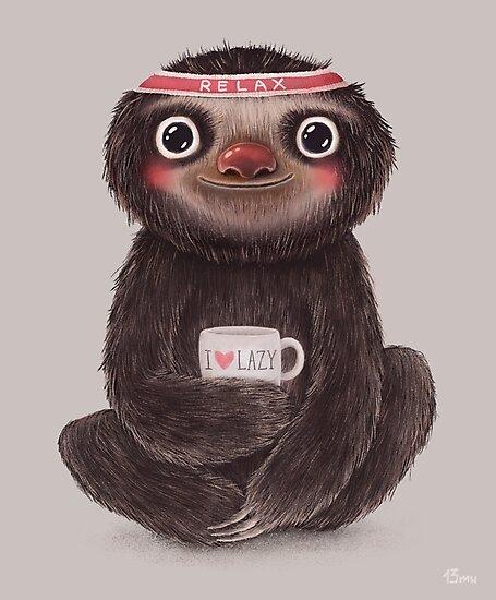Sloth I♥lazy by limeart