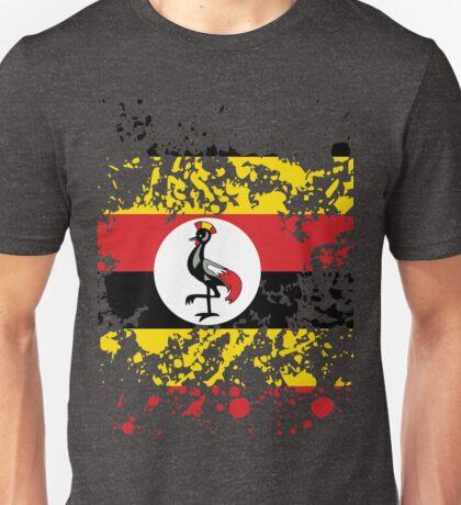 Uganda Flag Ink Splatter Unisex T-Shirt