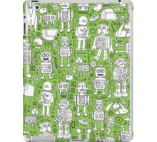Robot Pattern - green & white iPad Case/Skin