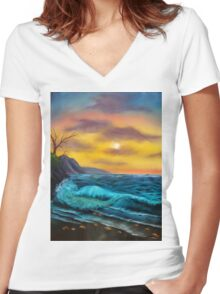 Sea Waves and Sunset Scene Women's Fitted V-Neck T-Shirt