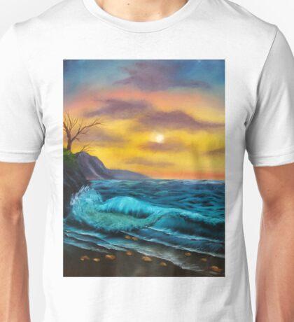 Sea Waves and Sunset Scene Unisex T-Shirt