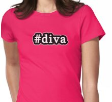 Diva - Hashtag - Black & White Womens Fitted T-Shirt