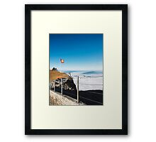 Alps - Swiss Flag Blowing in Wind on Mount Rigi in Central Switzerland Framed Print