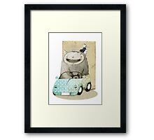 Monster In A Car Framed Print