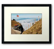 Swiss Flag Blowing in Wind on Mount Rigi in Central Switzerland Framed Print