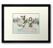 The Little Inuit Girl And The Wolf Framed Print