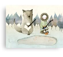 The Little Inuit Girl And The Wolf Canvas Print