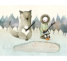 The Little Inuit Girl And The Wolf Photographic Print