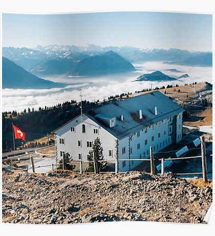 Swiss Alps - Rigi Kulm With Amazing Panorama on Clear Sunny Winter Day Poster