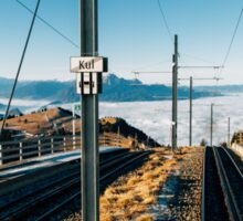 Central Switzerland - Rigi Kulm Top Station on Clear Sunny Winter Day Sticker