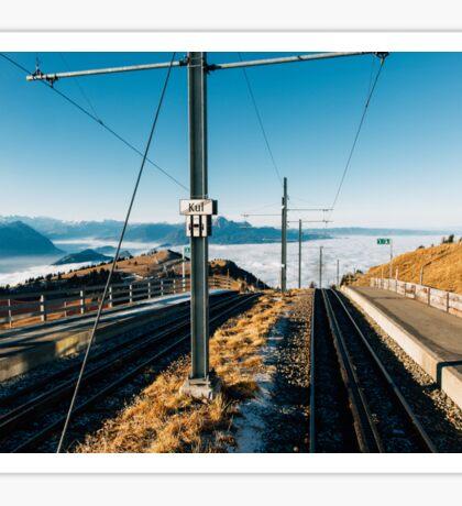 Central Switzerland - Rigi Kulm Top Station on Clear Sunny Winter Day Sticker