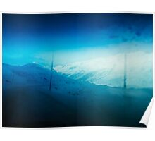 Mountains of Switzerland - Driving Through Swiss Alps on Sunny Winter Day.  Poster