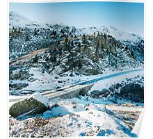 Swiss Alps - Road Through Swiss Alpine Mountains on Sunny Winter Day Poster