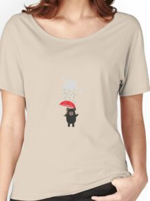 Black Bear with Umbrella Women's Relaxed Fit T-Shirt